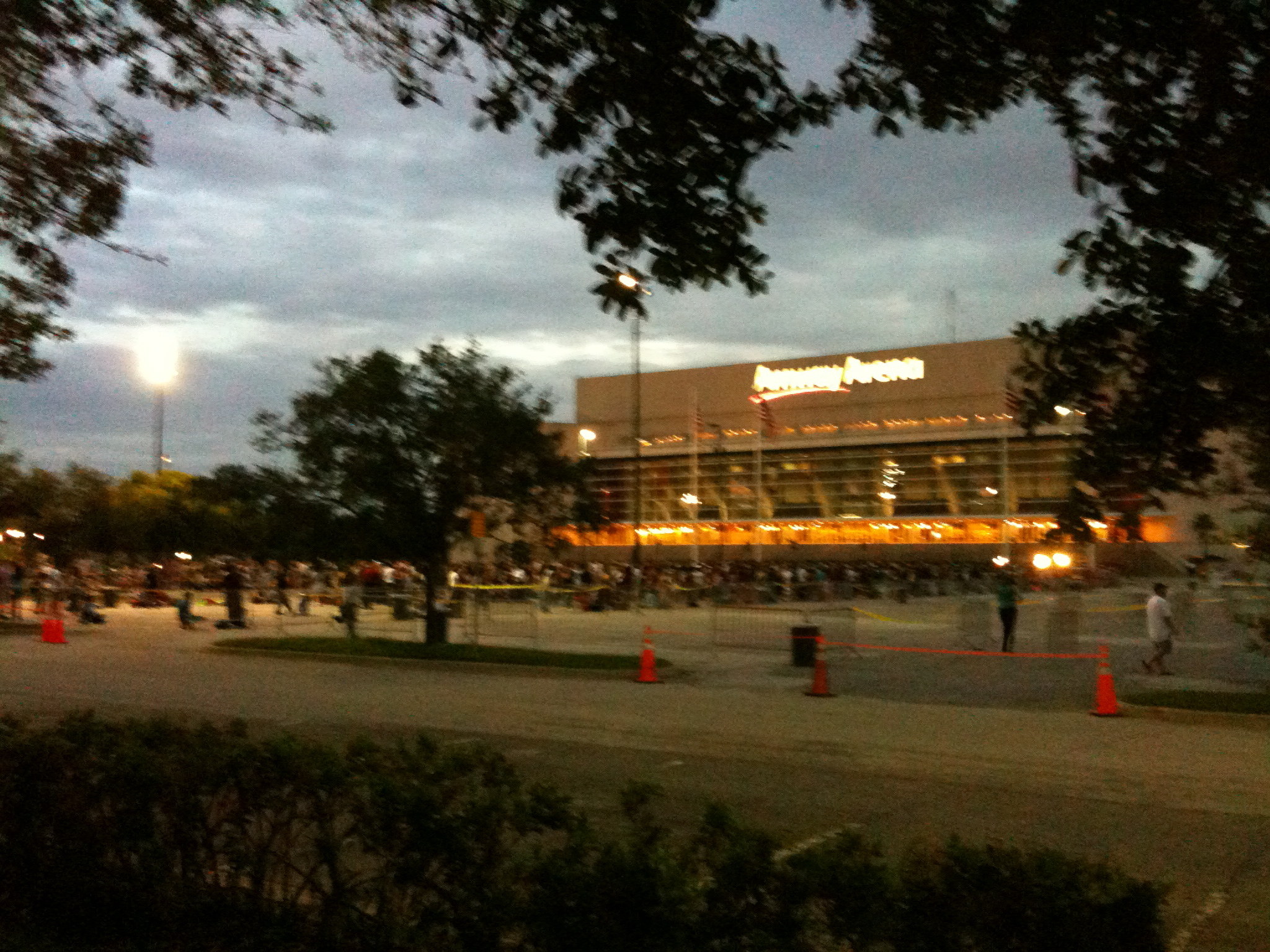 day breaks over the Amway Center